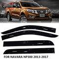 2014-18 автомобильный дефлектор для защиты от ветра навесы укрытия для NAVARA NP300 D23 черный окно дефлектор гвардии подходит для Nissan Navara NP300