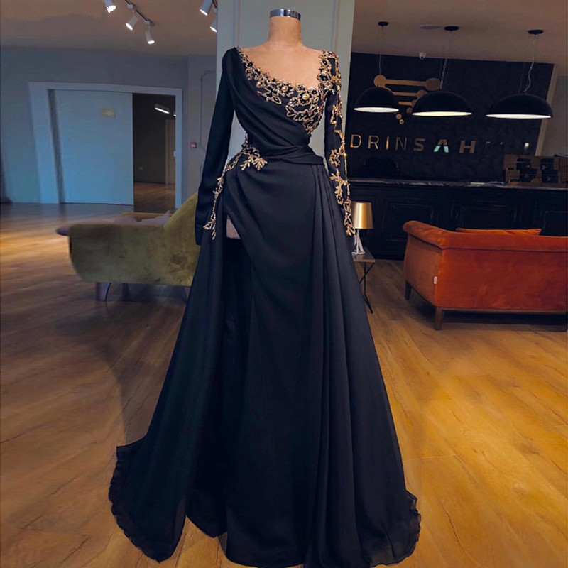 Black Muslim   Evening     Dresses   2019 A-line Long Sleeves Chiffon Lace Long Islamic Dubai Saudi Arabic Long Formal   Evening   Gown