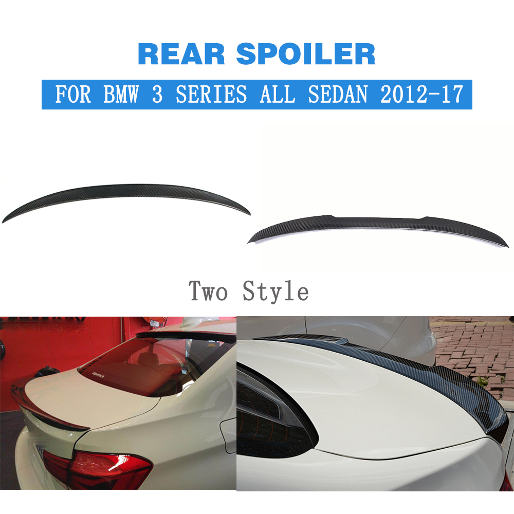 Rear Spoiler Trunk Boot Duck Wings For BMW F30 316i 318i 320i 328i 335i 326d F80 M3 All 3 Series Sedan 2012-17 Carbon Fiber carbon firber frp rear diffuser lip spoiler protector exterior for bmw f30 m sport bumper 2012 2017 single exhaust two outlet