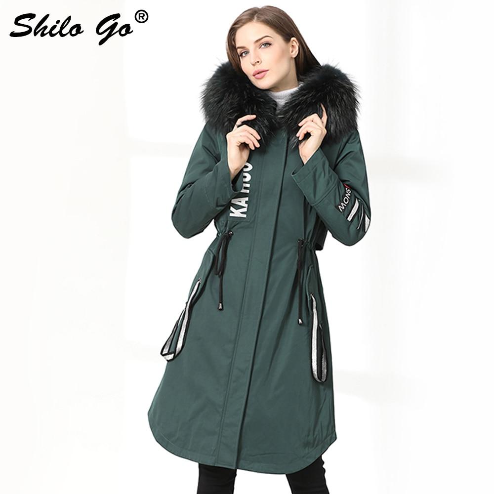 Parkas largas de invierno para mujer Abrigos Parkas gruesas talla grande cremallera verde Real cuello de mapache con capucha conejo forro abrigo de piel