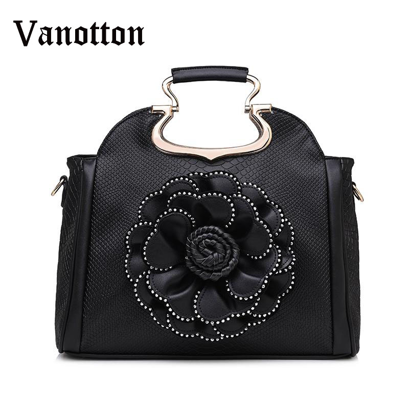 Vintage Floral Pattern Women Handbag Pu Leather Retro Lady Shoulder Bag with Beautiful Flower Serpentine Women Tote with Diamond pu leather front zip floral shoulder bag