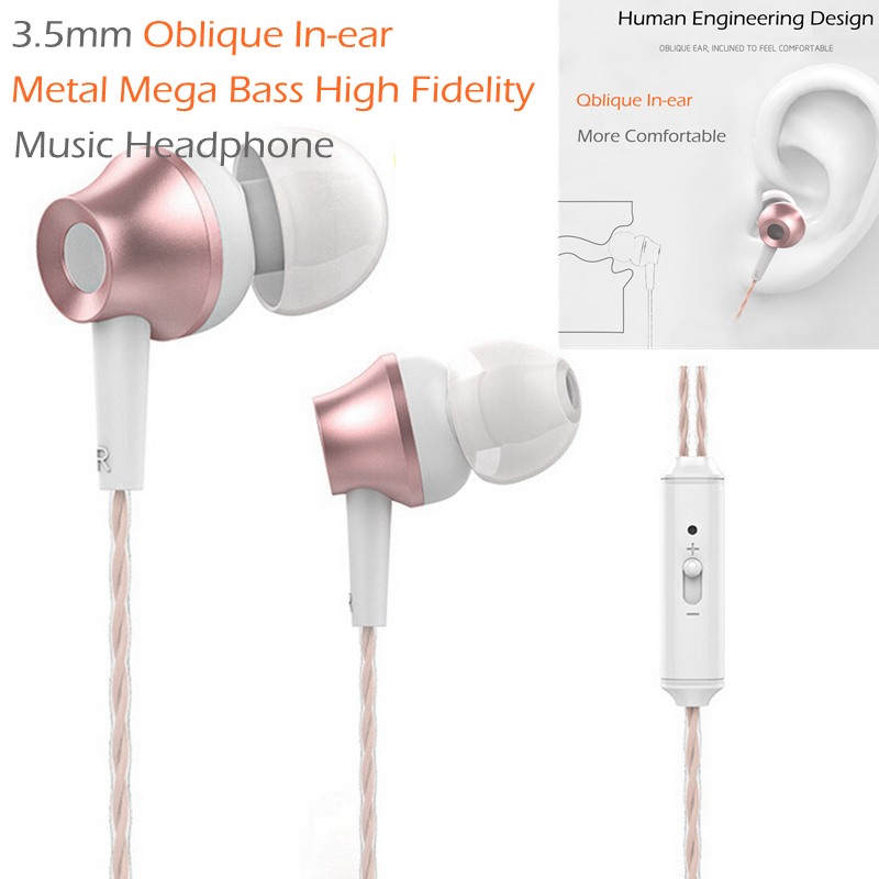 Rose Gold 3.5mm Oblique In-ear Metal Mega Bass High Fidelity Music Headphone Earphone Headset with Mic Microphone Volume Control nameblue st 33 sports bluetooth v4 0 in ear earphone headphone set w microphone volume control