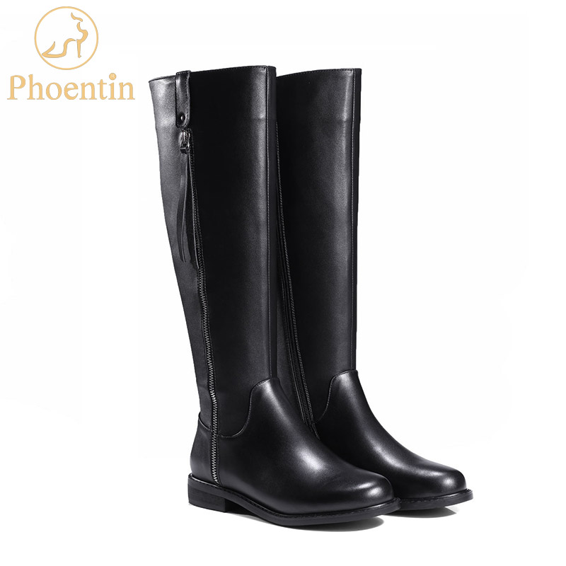 Phoentin knee boots 2018 with both side zipper flat heels black boots women round toe booties womens shoes nature leather FT450 black round toe side zippers heavy bottomed increased inner 12 cm slope heels naked boots discount women fashion wedges booties