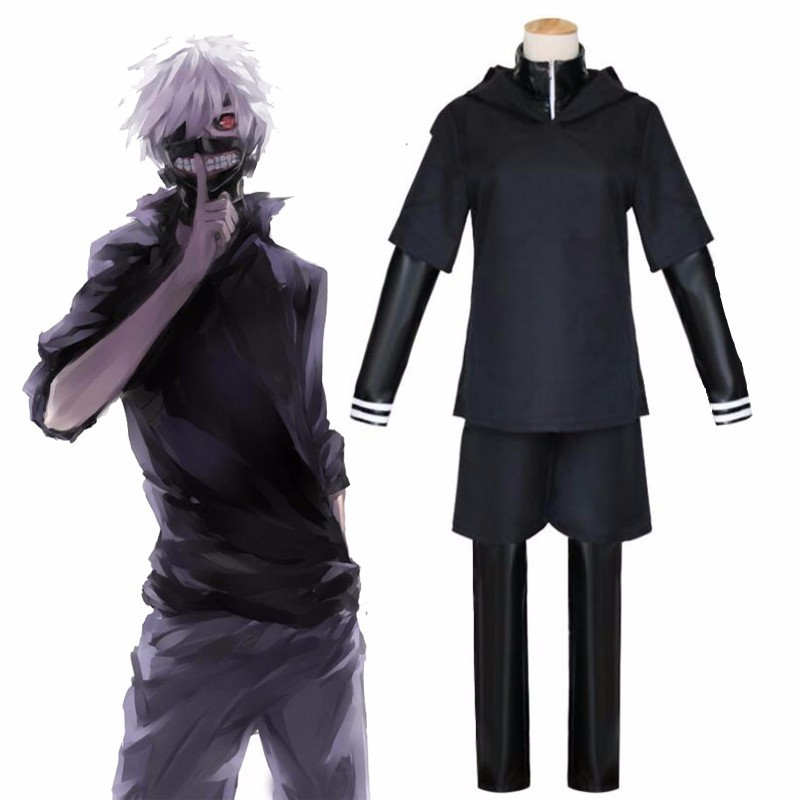 JP Anime Tokyo Ghoul Ken Kaneki Cosplay Costume Full Set Black Leather Fight Uniform Women Men Halloween Costume With Mask Wig