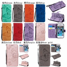 3D Butterfly Embossed PU Leather case For iPhone 5 5s 6 6s 7 plus 8 Plus Wallet Flip Cover Stand Skin For iPhone 6 Plus 6s Plus colorized flowers wallet leather stand case for iphone 6s plus 6 plus 5 5 inch