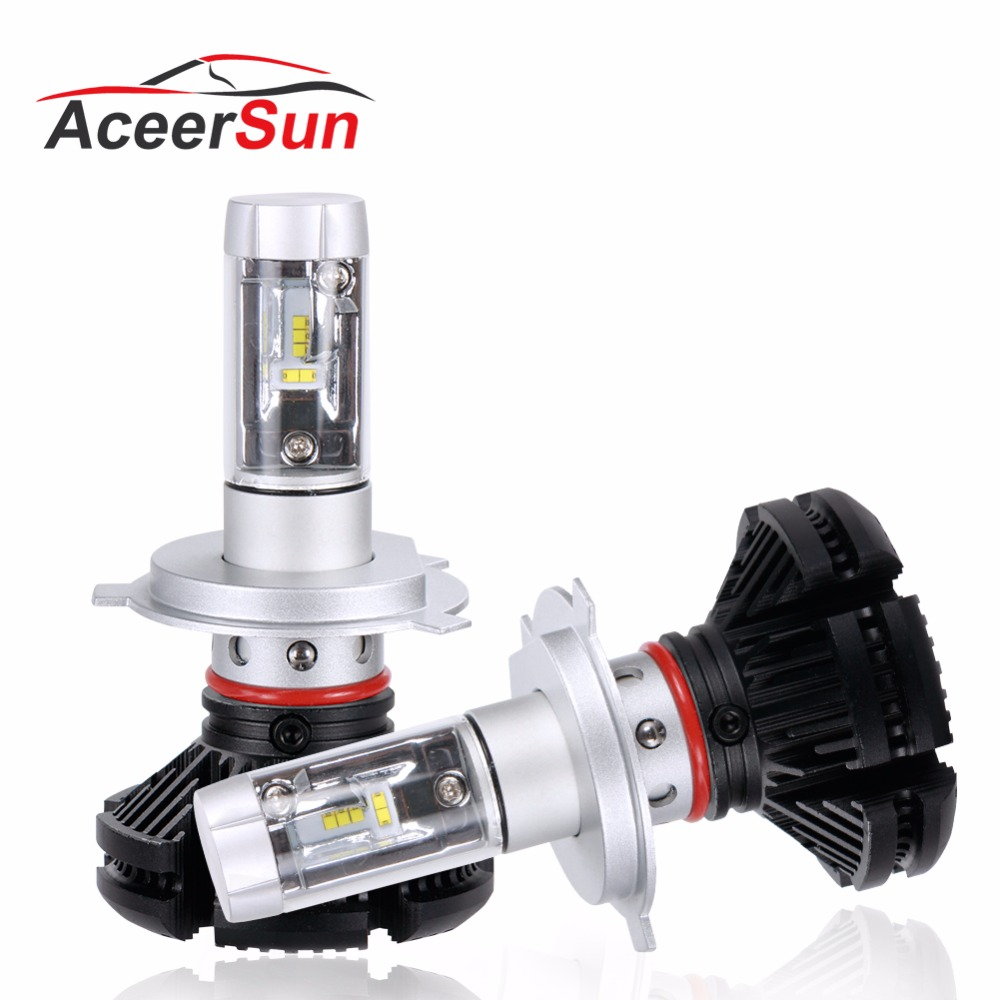 Aceersun H4 H7 LED Car Headlight ZES chip bulb Fanless HB3 9005 No nois H8 H11