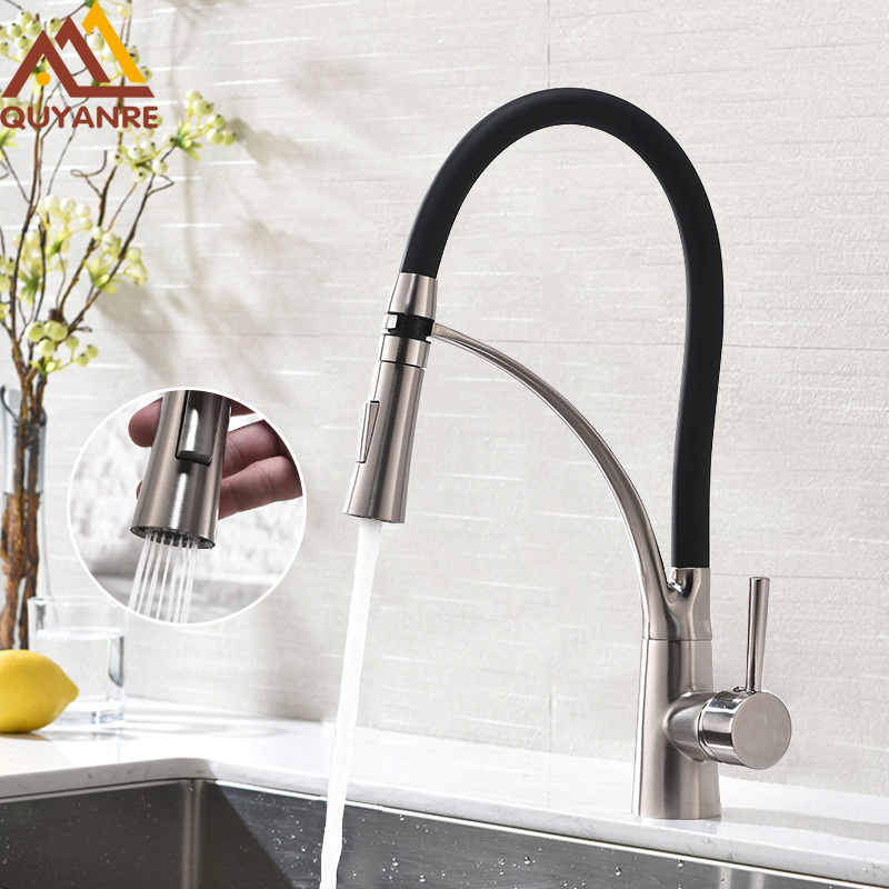 Quyanre Brushed Nickel Pull Out Kitchen Faucet Black Rubber 360 Swivel H/C Mixer Tap Kitchen Basin Faucet Torneira Cozinha group 10 cup pull 3 in c c polished nickel