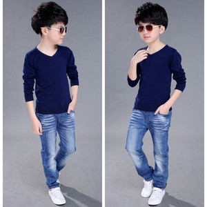 Image 4 - Fashion Boys Sweater Knitting Pattern Spring 2018 Children Pullovers Tops Cotton Kids Outerwear Clothes Pure Color Sweater 4 16Y