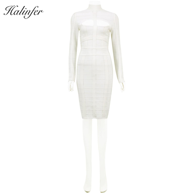 Halinfer Women Long Sleeve Bandage Dress 2019 New Arrivel White Party Bandage Dress Bodycon Sexy Hollow Out Mid-calf O-neckDress