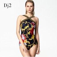 Floral Digital Printed Swimwear One Piece Swimsuit Hot Sale Wrap Bandage Bodysuit Badpak Retro Vintage Bathing