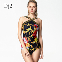 Floral Digital Printed Swimwear One Piece Swimsuit Hot Sale Wrap Bandage Bodysuit Badpak Retro Vintage Bathing