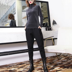 Image 4 - [EAM] wysoka elastyczna talia czarny rozrywka krotnie spodnie haremowe nowy luźny krój kobiety moda fala wiosna jesień 2020 JK480