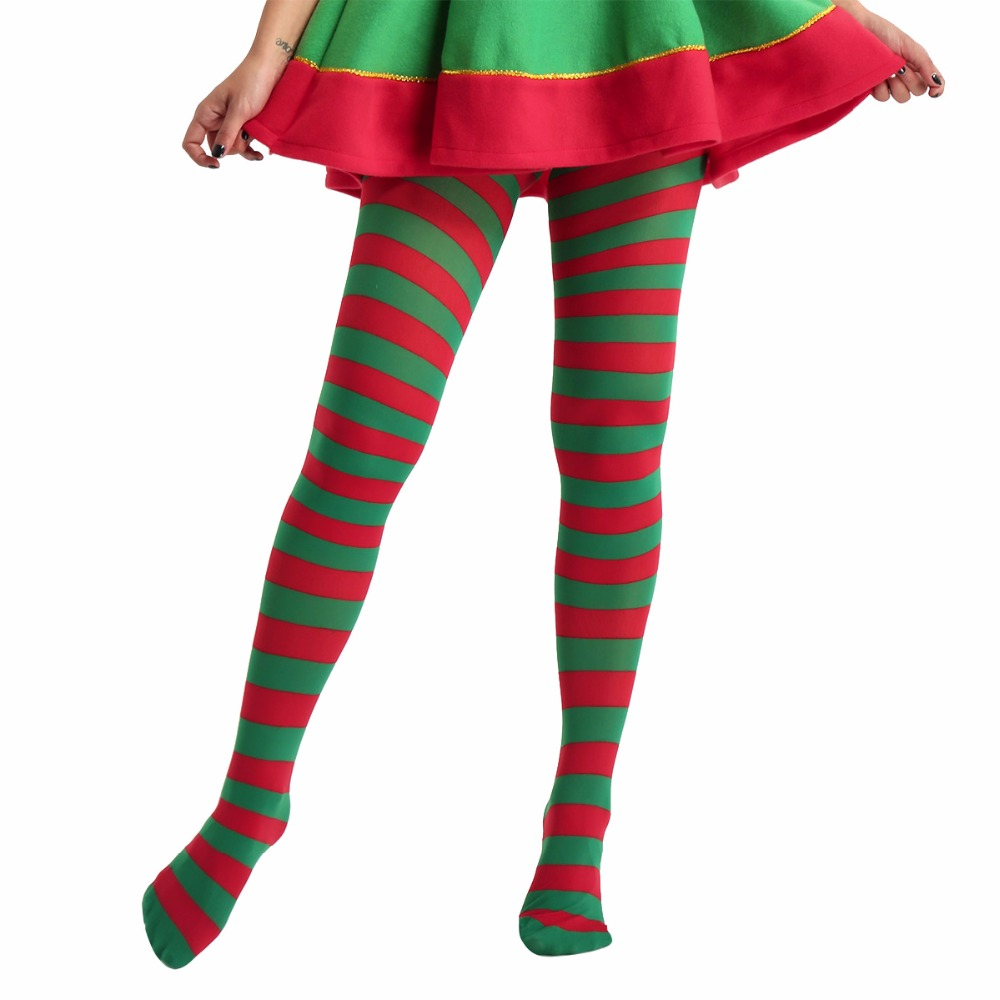Unisex Adults Striped Jester Costume Spandex Full Footed Tights Pantyhose Christmas Stocking Hosiery for Christmas Party Costume