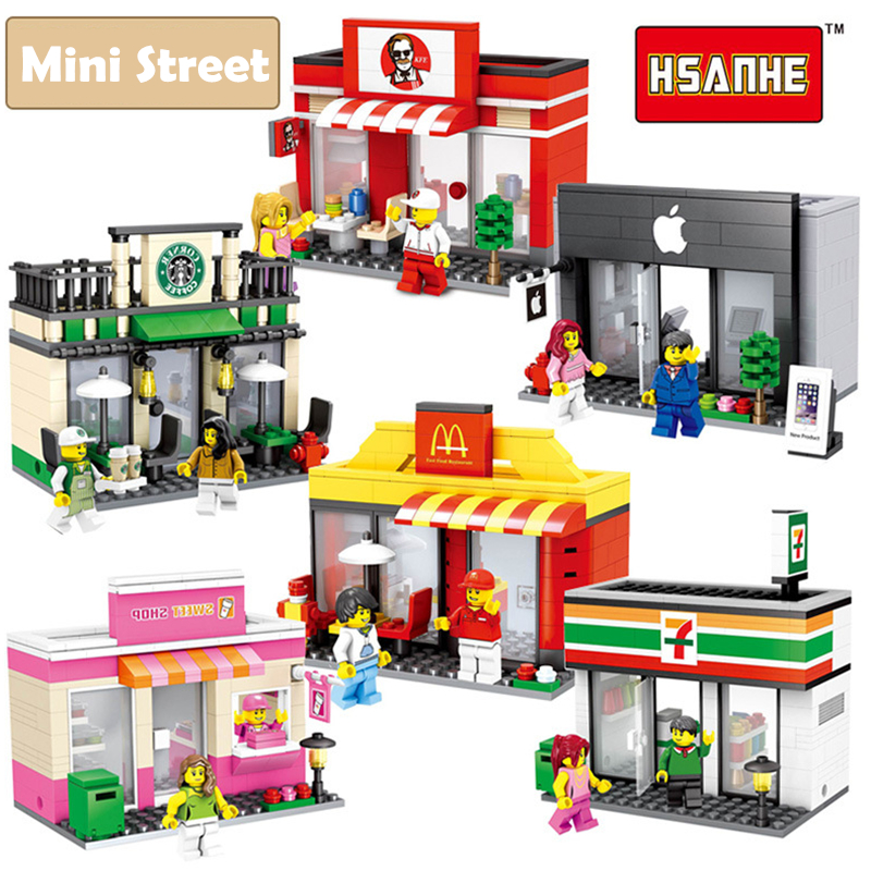 Mini Street Scene 3D Architecture Model Retail Store Miniature Building Block Toy for Children Hsanhe Compatible with lego new mini diamond building block world famous places architecture 3d russia saint basil s cathedral model nanoblock for kid gift