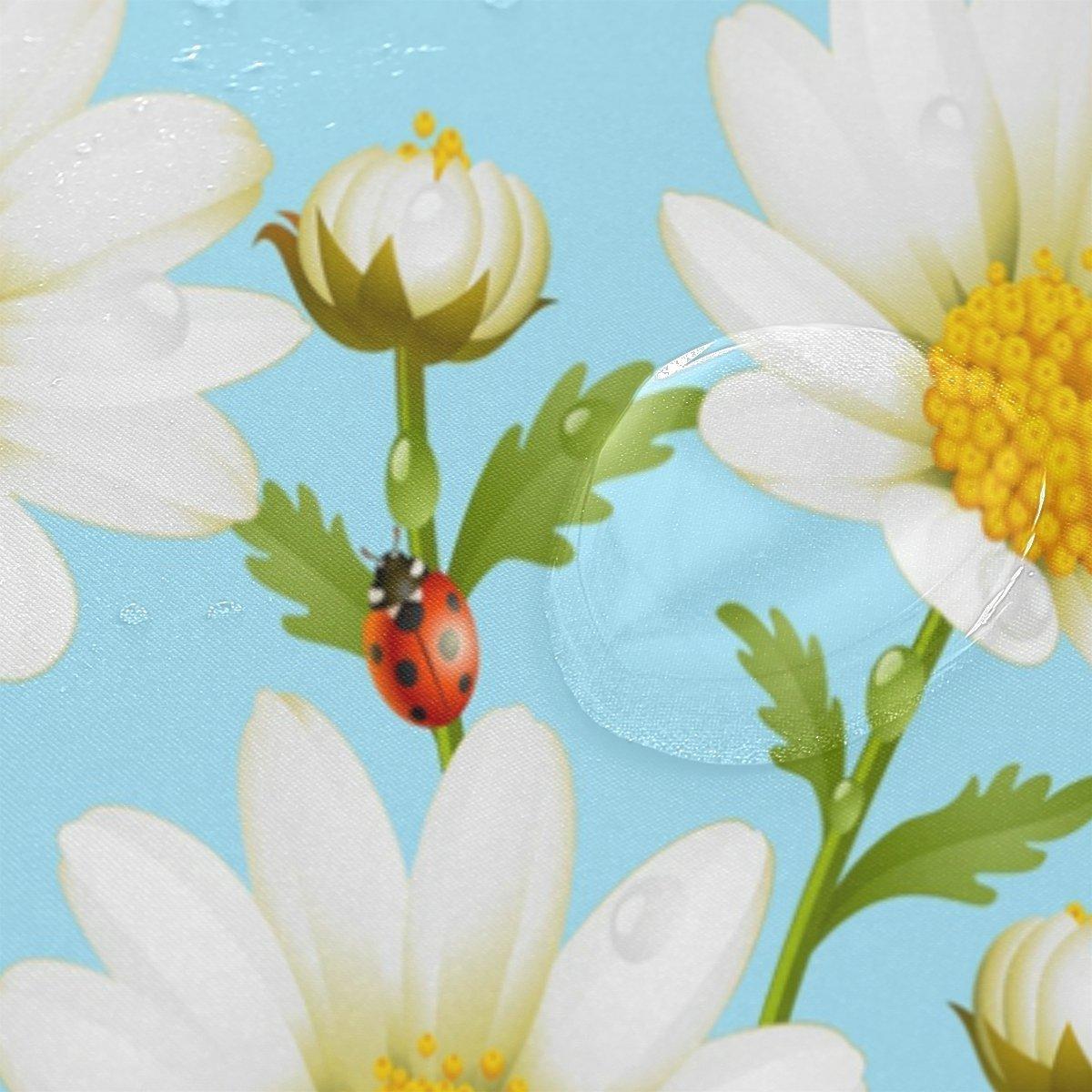 Fresh Daisy Flower Green Grass Waterproof Polyester Fabric Shower ...