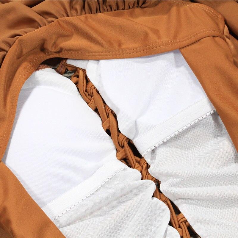 Women One Pieces Swimsuit Halter Beach Wear Bandage Bathing Suit Ruffle Monokini Swimwear YS-BUY 3
