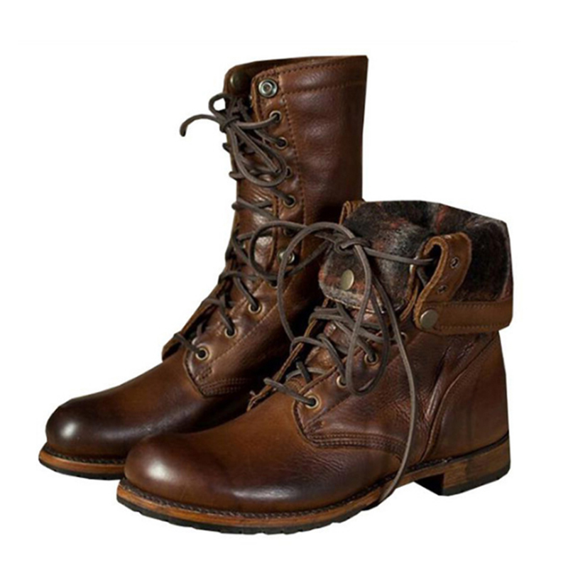 Retro Motorcycle Boots Men Leather Boots Breathable Brogue Shoe Lace