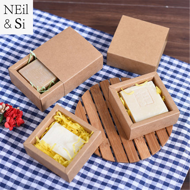 Gift Drawer Box Handmade Soap Wedding Candy package Jewel Kraft Paper Boxes Black Brown White 6.5*6.5*3.5cm