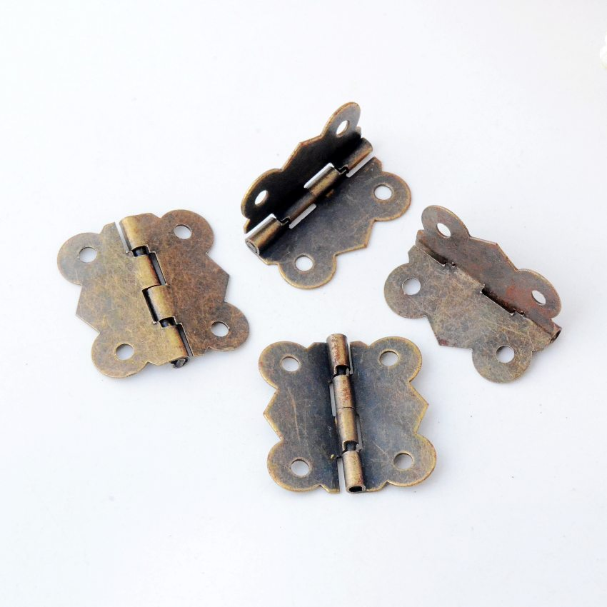 Free Shipping 20pcs Antique Bronze Hardware 4 Holes DIY Box Butt Door Hinges (Not Including Screws) 29x27mm J3018