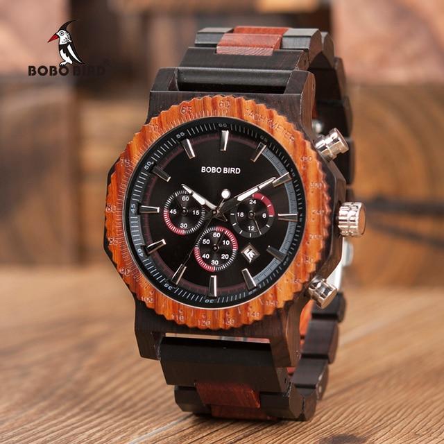 51mm Big Size Men Watch BOBO BIRD relogio masculino Wooden Quartz Top Luxury Watches for Dad Gift reloj mujer Accept Logo