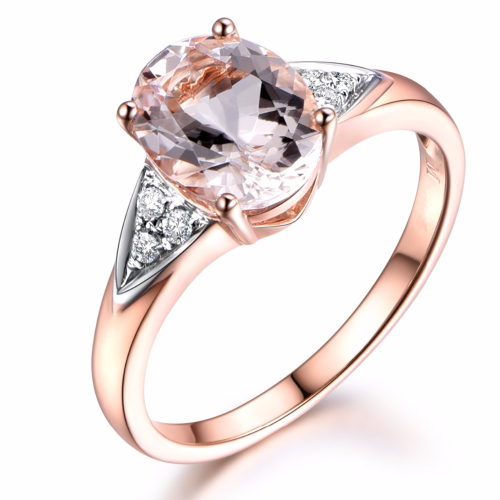 Myray 14k Rose Gold Genuine Natural 7x9mm Oval Pink Morganite Stone  Engagement Ring Wedding Rings Vintage Diamond Band For Women