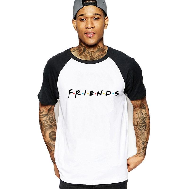 Fashion Men's Short Sleeve Friends TV Show tshirt Black white Gift cotton   T     Shirts   Hipster Adult   T  -  shirt   Camisetas male clothing