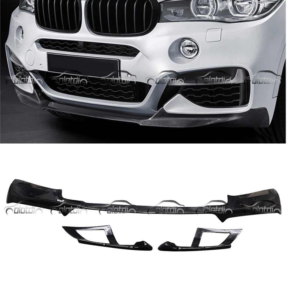 Para BMW F16 X6 MP Estilo Frente Lip Bumper Spoiler De Fibra De Carbono Estilo Do Carro Do Corpo Kits