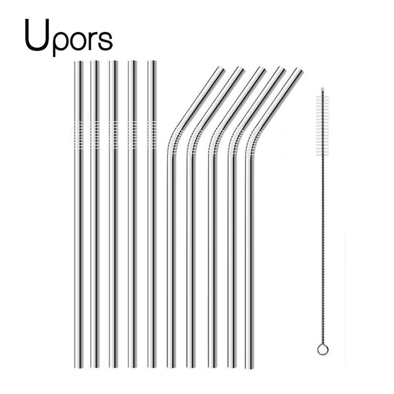 UPORS 200 pcs/ensemble 304 acier inoxydable pailles réutilisables 215*6 MM pour Partie Tasses Gobelets pour la Vente En Gros