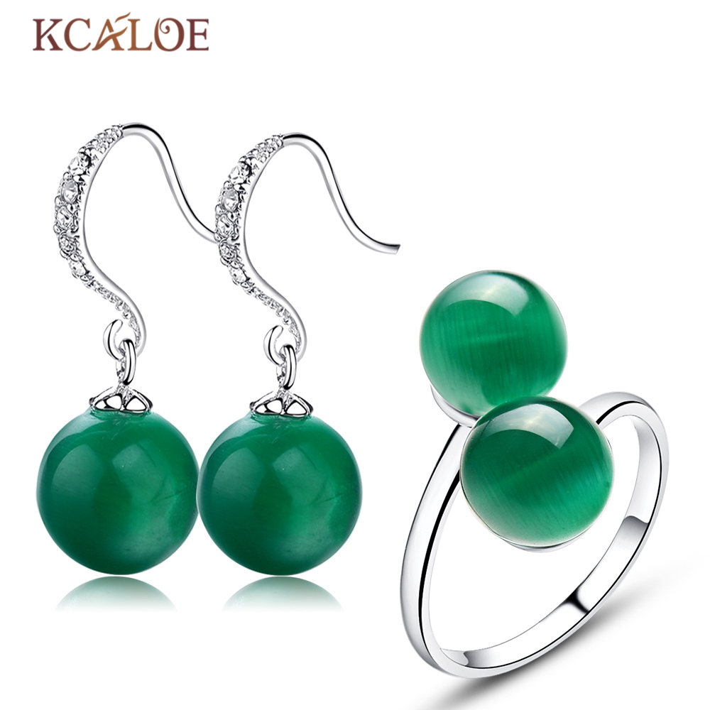 KCALOE Jewellery Sets For Women Crystal Rhinestone Dangle Earrings Natural Green Opal Stone Double Ball Open Ring Jewelry Set