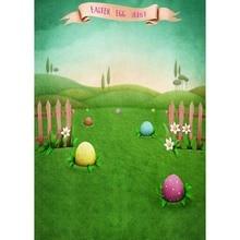 5x7FT Happy Easter Eggs Hunt Green Grass Garden Wood Fence Custom Photo Studio Background Backdrop Vinyl