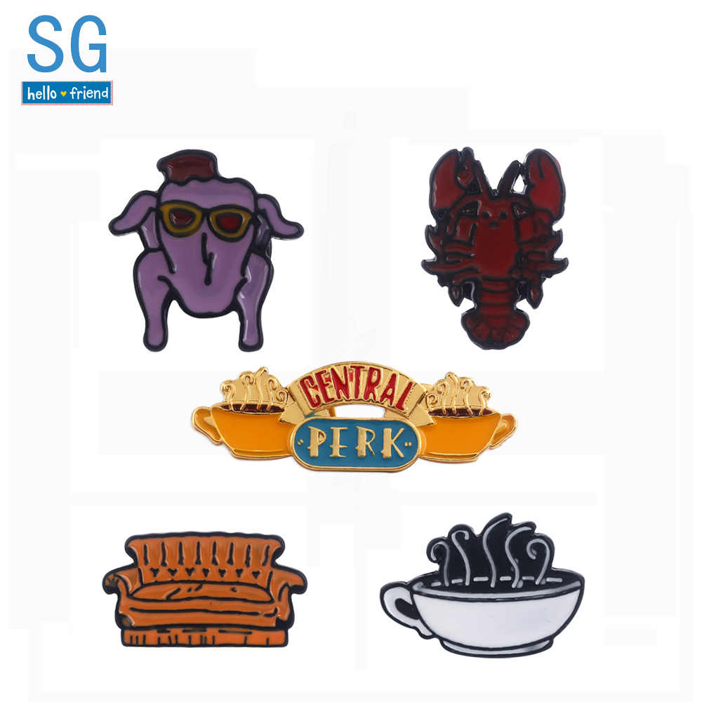 SG TV Friends Central Perk Coffee Brooches Pins Monica's Door Keyring Lobster Sofa Christmas Turkey Badge Pin Men Coat Jewelry