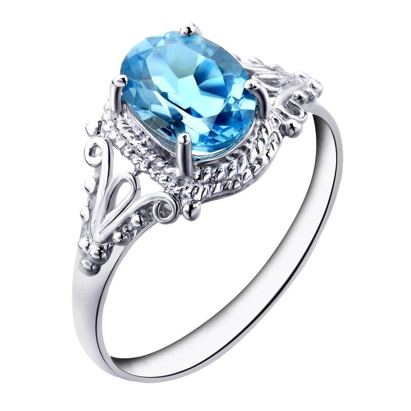 Natural topaz stone ring blue topaz square gem female ring finger ...