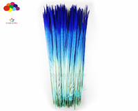 100pcs 100% natural premium pheasant feather 50 55cm/21 23inch blue three colour tail beautiful for Diy costume mask headdress