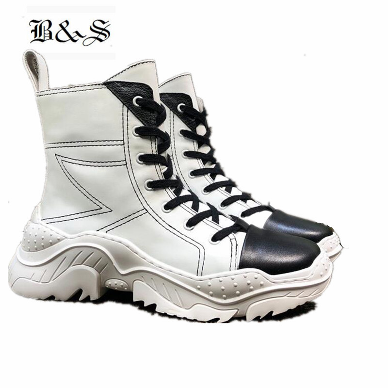 Black& Street 2018 Thick Sole Lace Up Platform Boots Euro Casual Military genuine Leather trainer BootsBlack& Street 2018 Thick Sole Lace Up Platform Boots Euro Casual Military genuine Leather trainer Boots