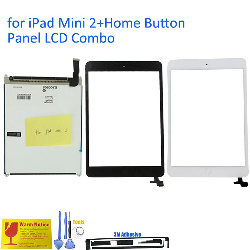 Prix pour ALANGDUO pour iPad Mini 2 A1489 A1490 A1491 Apple LCD affichage avec Écran Tactile Digitizer Remplacement Du Panneau de Lentille avec La Maison bouton