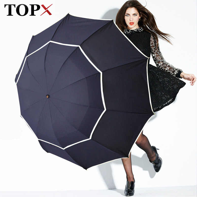 Double Golf Umbrella Rain Women Windproof 3Floding Large Male Women Umbrella Non-Automatic Business Umbrella For Men Paraguas