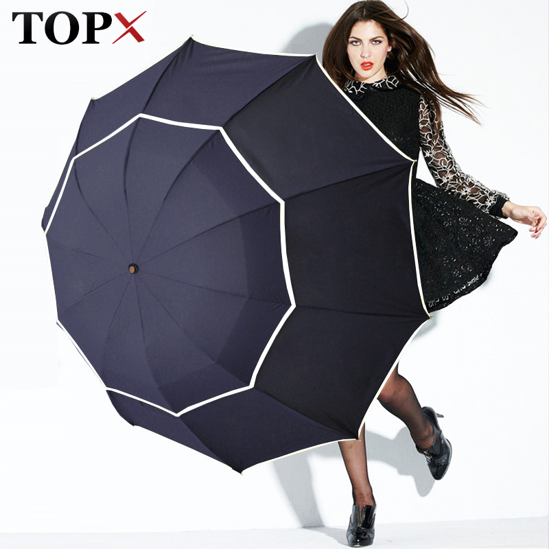 Double Golf Umbrella Rain Women Windproof 3Floding Large Male Women Umbrella Non Automatic Business Umbrella For