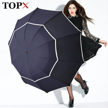 Double Golf Umbrella Rain Women Windproof 3Floding Large Male Women Umbrella Non-Automatic Business Umbrella For Men Paraguas(China)