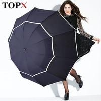 Double Golf Umbrella Rain Women Windproof 3Floding Large Male Women Umbrella Non Automatic Business Umbrella For