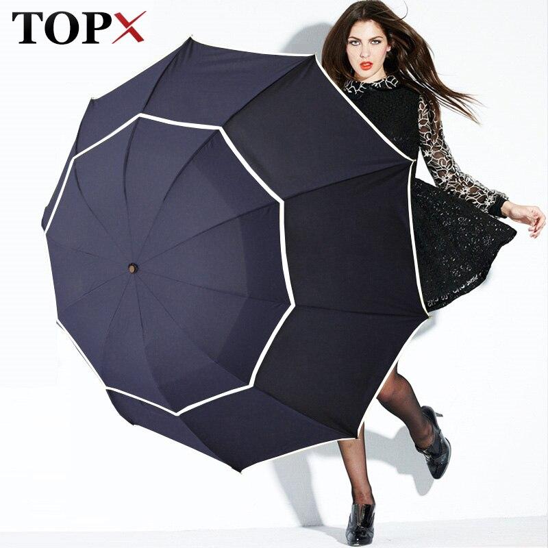 Duplo Golf Umbrella Chuva Mulheres 3 Floding Grandes Mulheres Masculinos À Prova de Vento Guarda-chuva Não-Automática Guarda-chuva Para Os Homens de Negócios Paraguas