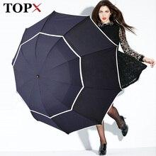 Podwójny parasol golfowy deszcz kobiety wiatroodporny 3Floding duży mężczyzna kobiet parasol nieautomatyczny parasol biznesowy dla mężczyzn Paraguas