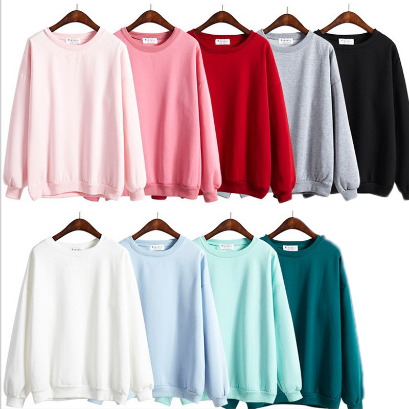 Autumn Winter Women Fleeve Hoodies Solid Casual Sweatshirt Loose Tracksuit Pullover Tops NYZ Shop(China)