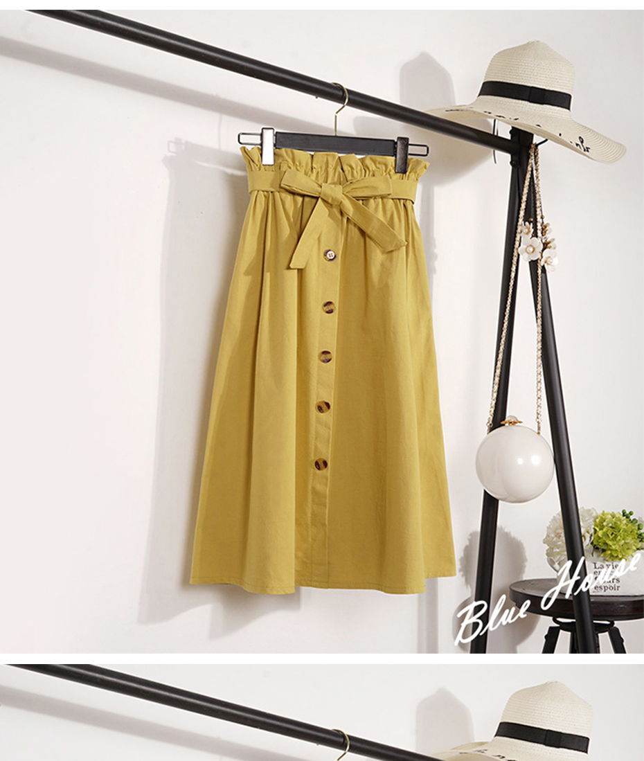 Gogoyouth Summer Skirts Womens 2018 New Midi Knee Length Korean Elegant Button High Waist Skirt Female Pleated Sun School Skirt 15