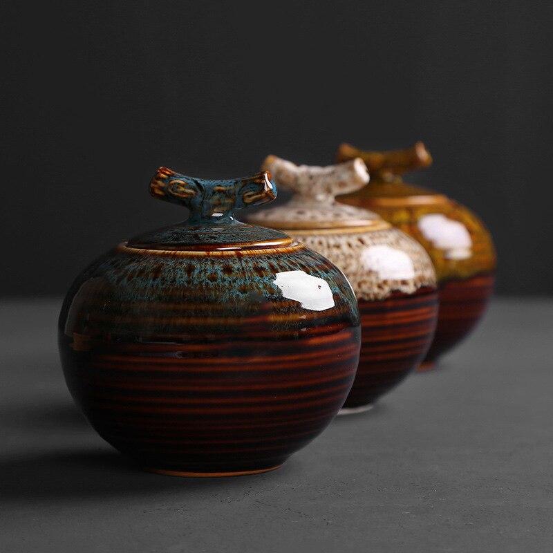 Small Apple Tea Pot Ceramic Kiln Changing Seal Pot Pu'er Tea Storage Pot Green Tea Black Tea Saving Tank Medium Size Can