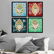 Print HD Painting Picture Owl Nordic Snowflake Poster Leaves Home Decoration On Canvas Modern Abstract Nordic Style Wall Artwork(China)