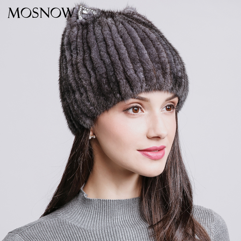 MOSNOW Women's Hat 100% Natural Mink Fur Elegant 2018 Winter Fashion Lovely Cat Ear Hats For Girls Cap   Skullies     Beanies   #PCM710