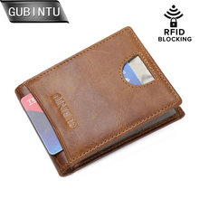 GUBINTU Slim font b Money b font font b Clip b font RFID Blocking Genuine Leather