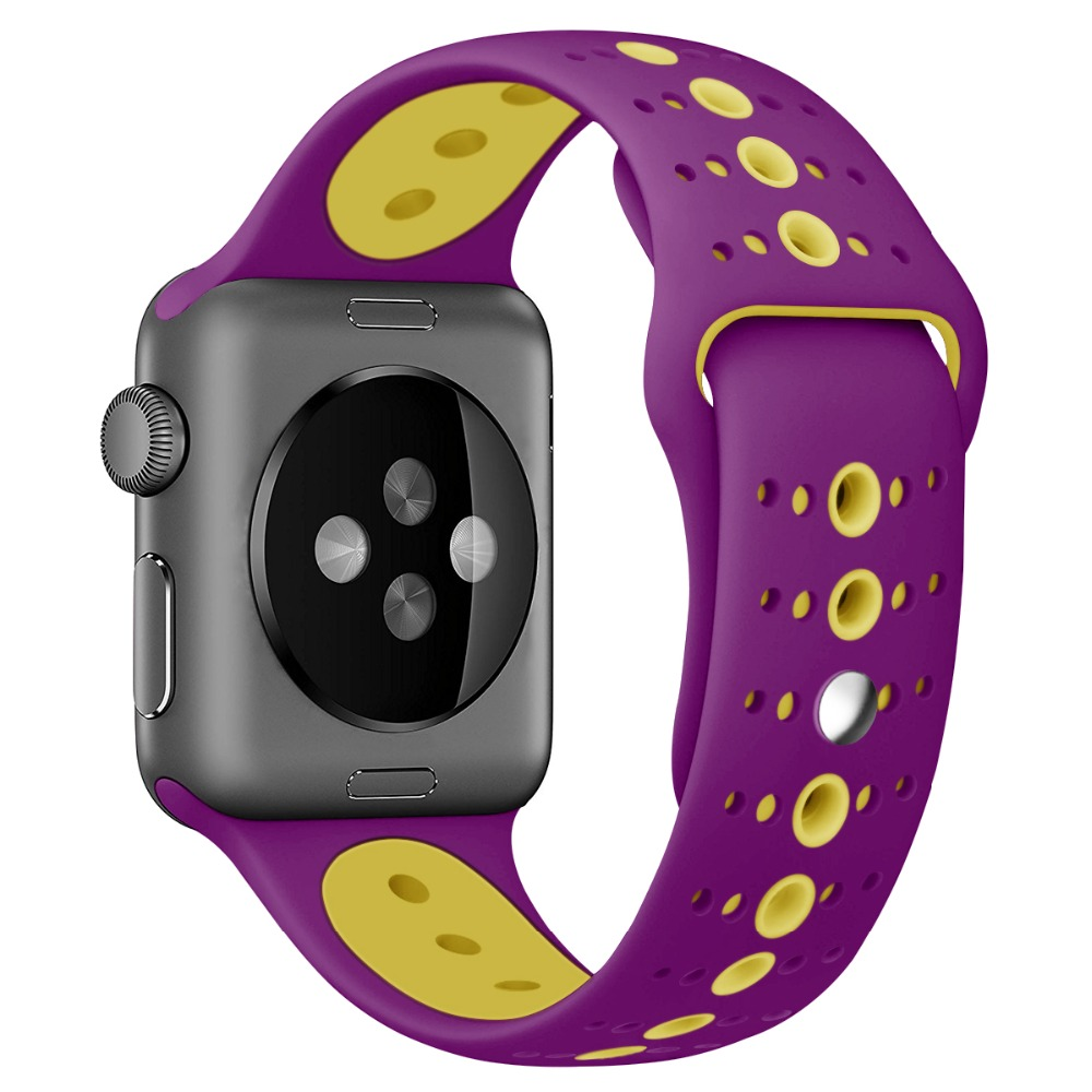 Double color Sport Strap For Apple Watch Band 42mm 38mm Breath IWatch Series 3 2 1 Silicone Wristband Bracelet rubber watchband цены в интернет-магазинах