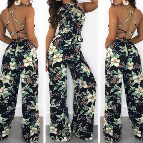 2018 New Women's Clubwear Playsuit Bodysuit Party   Jumpsuit   Casual Floral Loose Sashes Chiffon Long Trousers Female Clothing