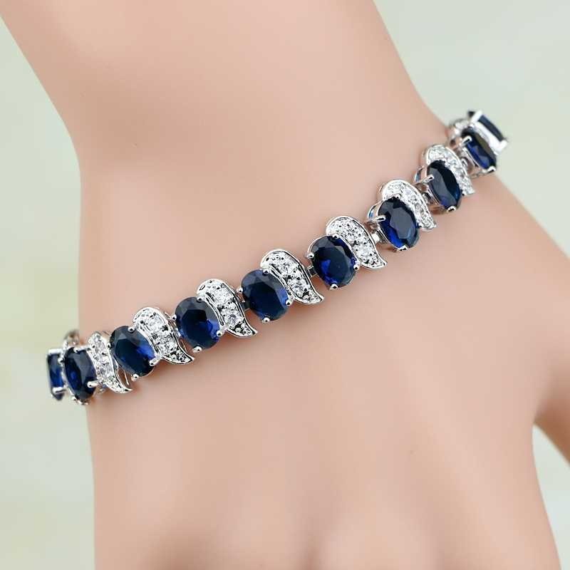 925 Sterling Silver Jewelry Blue Cubic Zirconia White CZ Chain&Link Charm Bracelets For Women Free Gifts Box
